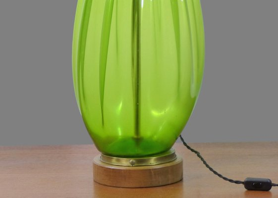 Large Vintage Blown Glass Table Lamp