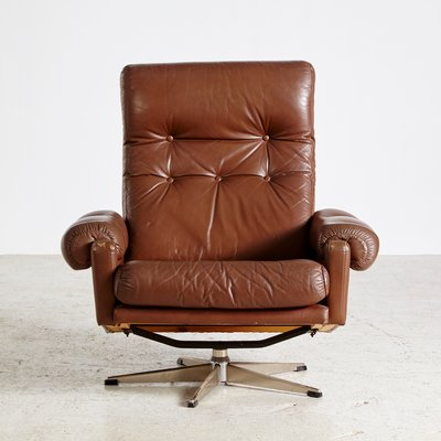 Tremendous Vintage Danish Buttoned Leather Reading Armchair 1960S Caraccident5 Cool Chair Designs And Ideas Caraccident5Info