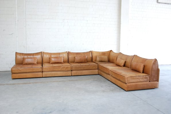 Vintage Modular Ds 19 Sofa In Cognac Leather From De Sede 7