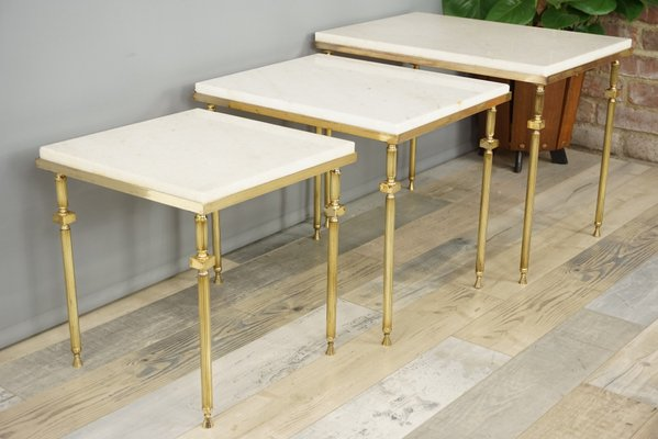 Vintage nesting tables in brass white marble for sale at pamono vintage nesting tables in brass white marble 1 watchthetrailerfo