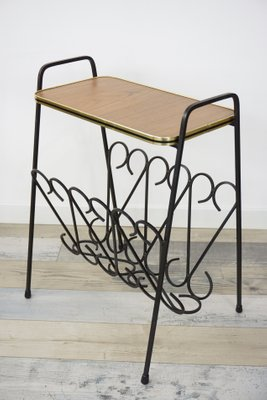 Wrought Iron U0026 Wood Side Table With Magazine Rack, ...