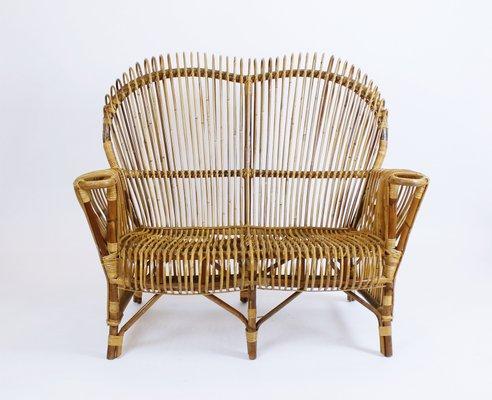 Mid Century Italian Rattan Sofa From Vittorio Bonacina 1