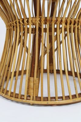 Italian Mid Century Bamboo Rattan Side Table By Franco Albini For
