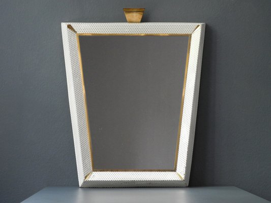 Large Mid Century Modern Illuminated Mirror With Perforated Metal