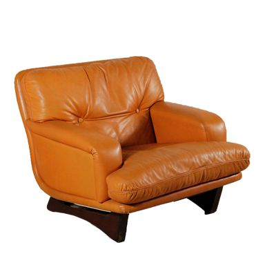 Italian Armchair With Leather Foam Padding Wood From Lenzi