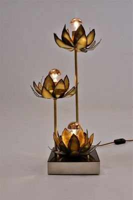 French Brass Lotus Flower Table Lamp 1970s For Sale At Pamono