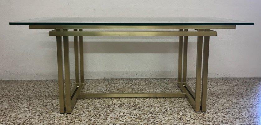Glass Table Coffee Table.Vintage Italian Rectangular Brass Glass Table 1970s