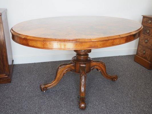 Oval Victorian Burr Walnut Dining Table 1