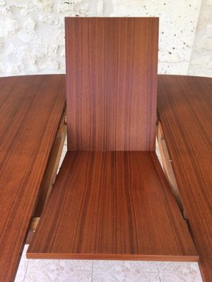 Extendable Scandinavian Teak Dining Table With Hidden Erfly Leaf 1960s 17
