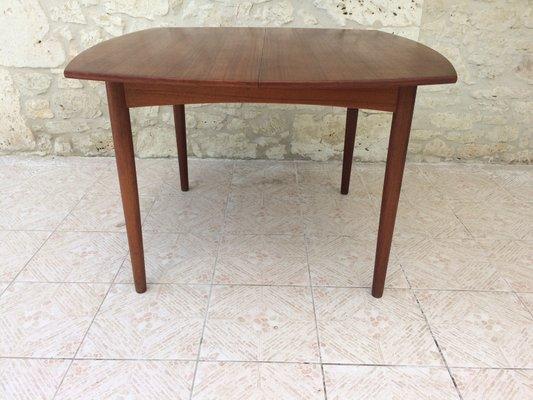 Extendable Scandinavian Teak Dining Table With Hidden Erfly Leaf 1960s 1