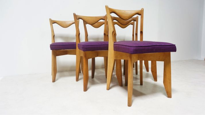 Vintage French Oak Dining Chairs By Guillerme Et Chambron For Votre Maison,  Set Of 6