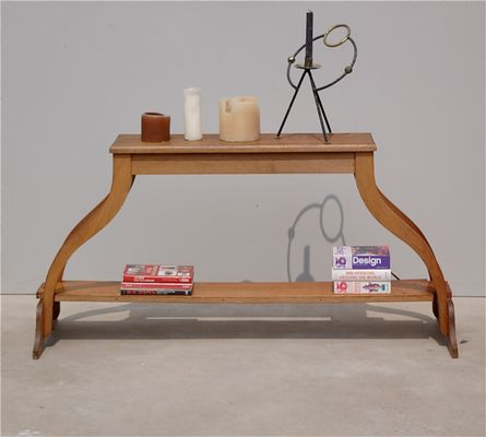 Vintage French Solid Oak Console Table 9