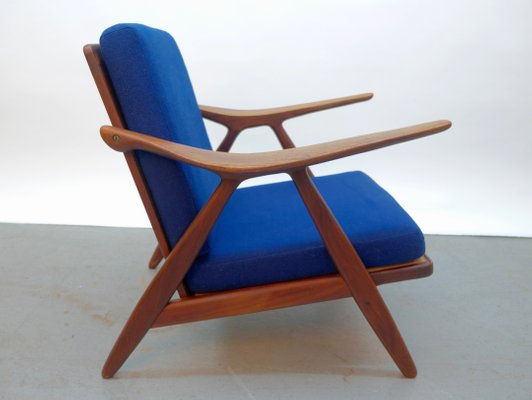 Vintage Danish Modern Lounge Chair With Curved Armrests 1