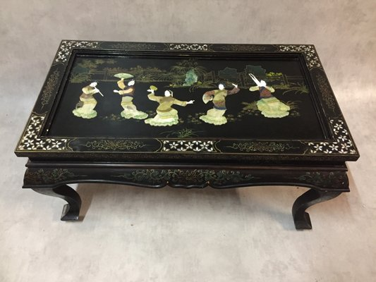 Antique Chinese Lacquered Coffee Table With Inlaid Precious Stones 1