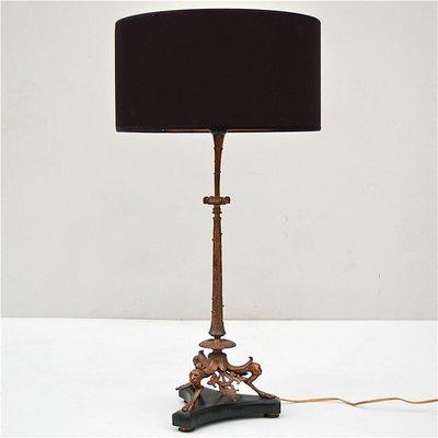 Lampada Da Tavolo Antica In Bronzo Con Base In Marmo In Vendita Su