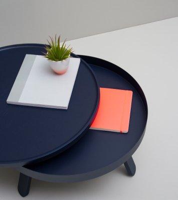 Medium Blue Batea Coffee Table With Storage By Daniel García Sánchez For Woodendot