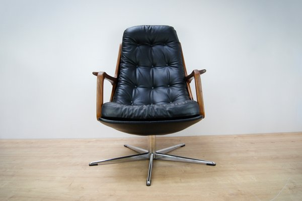 Leather And Teak Swivel Chair 1960s 1
