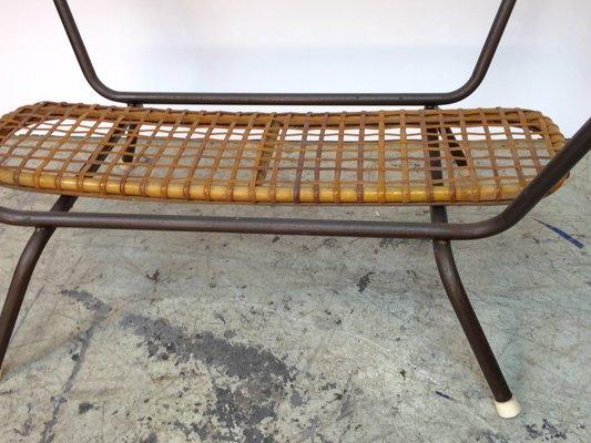 Italian Bamboo & Rattan Table & Easy Chair, 1950s