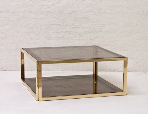 Brass Smoked Glass Coffee Table 1970s For Sale At Pamono