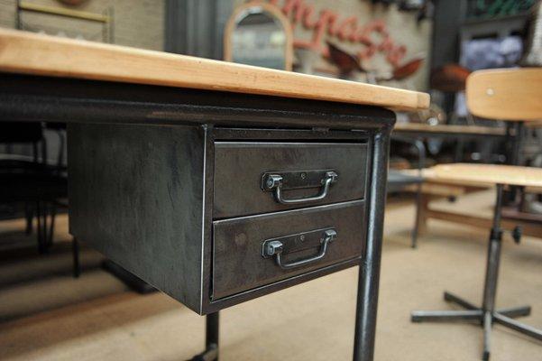 Bureau metal bois bureau metal bois console grand bureau bois