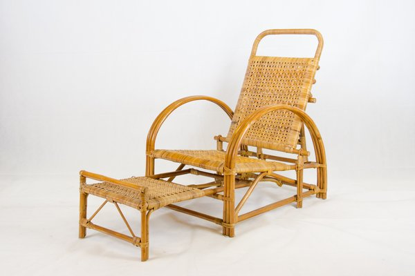 c2d13545fa0a8 Rattan Garden Chaise Longue by Erich Dieckmann for sale at Pamono