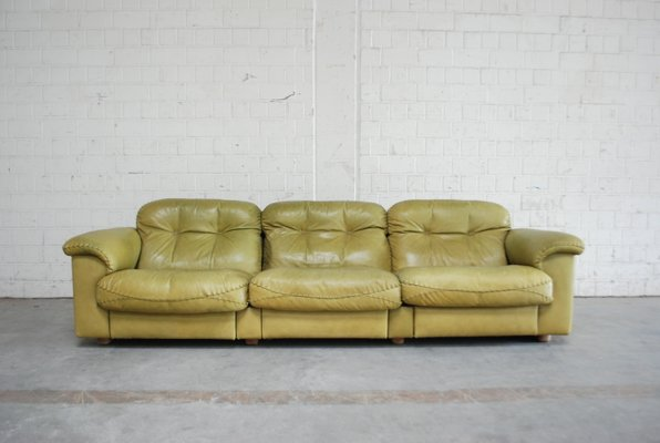 Vintage DS 101 Olive Green Leather Sofa from de Sede $6822.00