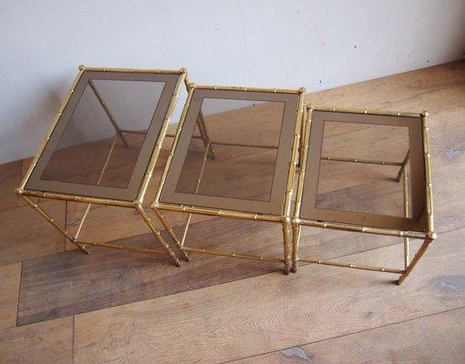 Tavolino Cristallo Ottone.Tavolini A Incastro In Ottone E Vetro Anni 60