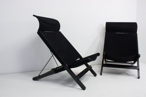 Amazing Vintage Black Canvas Folding Chairs Set Of 2 Ncnpc Chair Design For Home Ncnpcorg