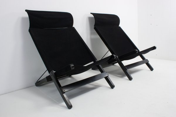 Strange Vintage Black Canvas Folding Chairs Set Of 2 Ncnpc Chair Design For Home Ncnpcorg
