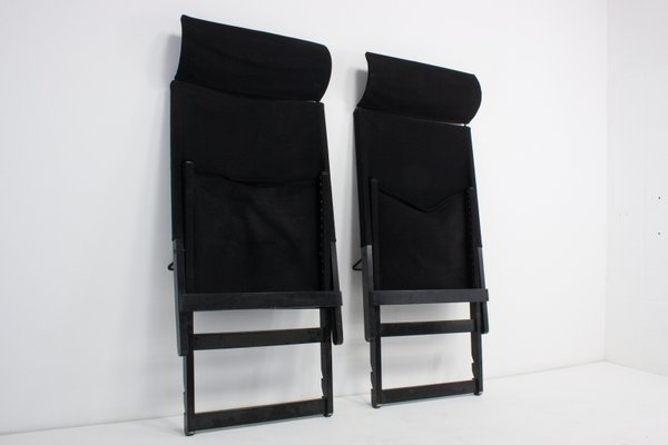 Astonishing Vintage Black Canvas Folding Chairs Set Of 2 Ncnpc Chair Design For Home Ncnpcorg