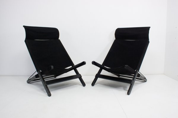 Awe Inspiring Vintage Black Canvas Folding Chairs Set Of 2 Ncnpc Chair Design For Home Ncnpcorg