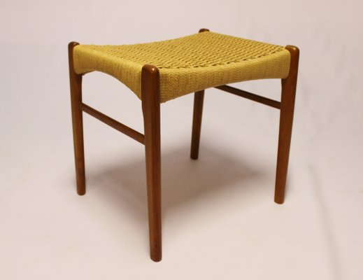 Teak & Paper Cord Stool from Glyngøre Stolefabrik, 1960s for sale at ...