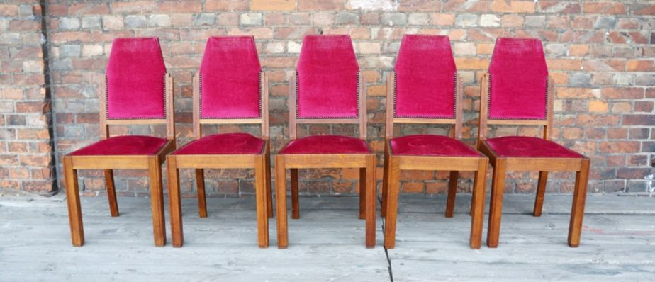 French Oak Dining Chairs 1940s Set Of 5 1