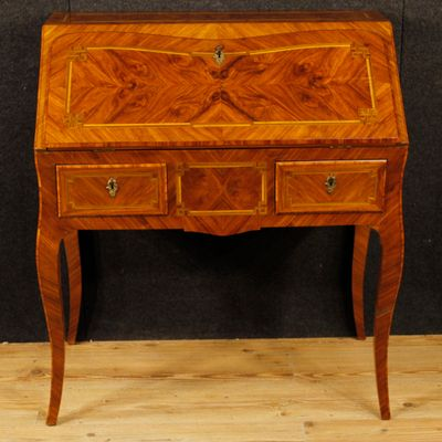 Vintage French Inlaid Wood Desk 1 - Vintage French Inlaid Wood Desk For Sale At Pamono