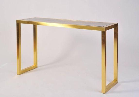 Brass U0026 Smoked Glass Console Table, 1970s