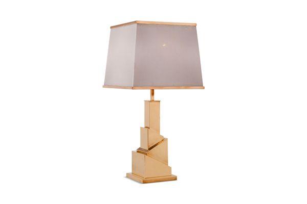 Lampe de bureau skyscraper vintage en laiton par romeo rega en