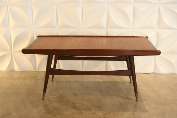 Mid Century Coffee Table.Mid Century Coffee Table With Brass Feet 1950s