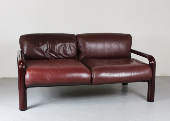 2 Seater Leather Sofa By Gae Aulenti For Knoll 1970s