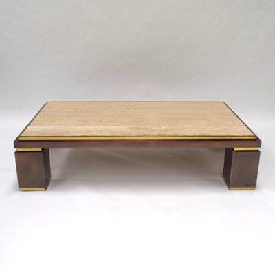 Travertine Coffee Table From Belgo Chrom 1970s