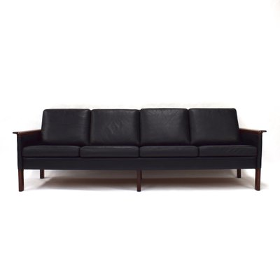 Scandinavian Black Leather Sofa, 1950s