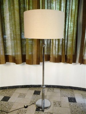 Large German Chromed Floor Lamp With Fabric Shade 1960s 1