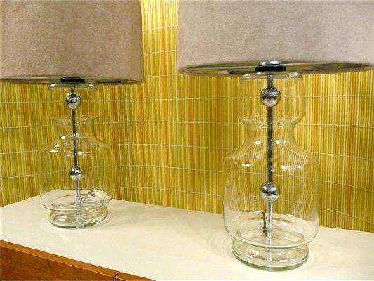 Grandes Lampes De Table En Verre Chrome Et Alcantara De Richard Essig 1960s Set De 2