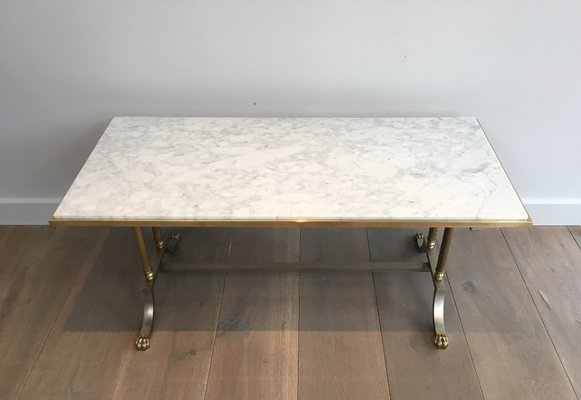 Marble Top Brass Coffee Table.Brushed Steel And Brass Marble Top Coffee Table From Maison Jansen 1940s