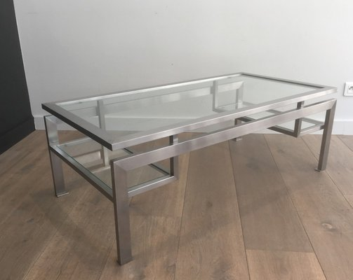 Brushed Steel Coffee Table By Guy Lefevre 1970s