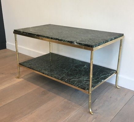Small French Bronze And Brass Faux Bamboo Coffee Table With Thick Marble  Top, 1940s