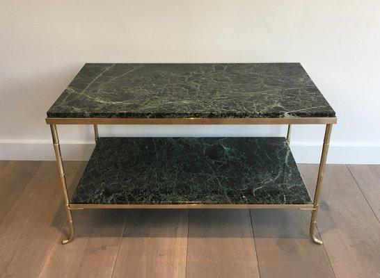 Petite Table Basse en Bronze, Laiton & Faux-Bambou avec Plateau Épais en  Marbre, France, 1940s
