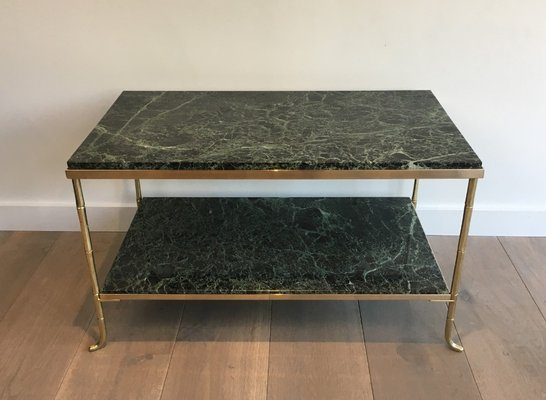 Small French Bronze And Br Faux Bamboo Coffee Table With Thick Marble Top 1940s