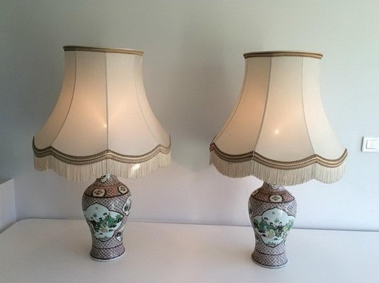 2 Lamps1920sSet Porcelain of Lamps1920sSet of 2 Chinese Chinese Porcelain BordeCx