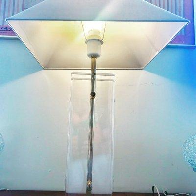 Tischlampe Aus Geatztem Milchglas Plexiglas Messing Von Fredrick