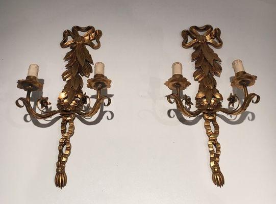 Applique in legno dorato italia anni set di in vendita su